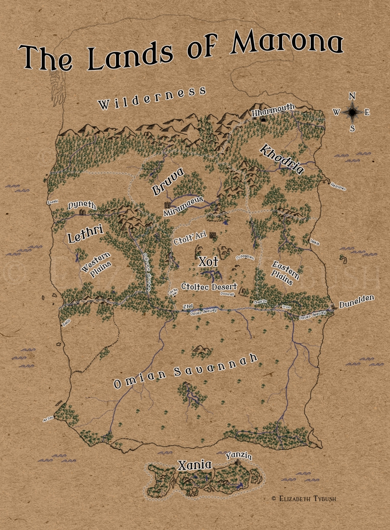 "The Lands of Marona. High-res, color map. Vendetta edition. © Elizabeth Tybush ""Modern Antiqua"" © wmk69. Used under the SIL Open Font License. Obtained at openfontlibrary.org. Textures, custom brushes, and custom stamps © Elizabeth Tybush. Marona map concept © Elizabeth Tybush"