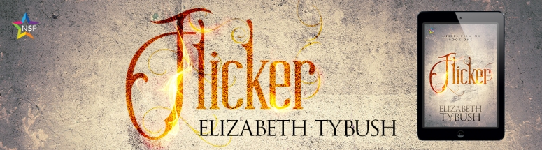 Cover for the novel Flicker by Elizabeth Tybush, published by NineStar Press